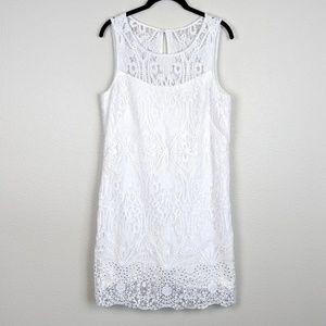 WHBM White Lace Shift Dress Studded Bottom Size 6